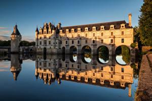 Фотография Франция Замки Река Отражении Башня Chateau de Chenonceau, River Cher Города