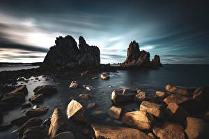 Фото Франция Берег Камень Скала Bretagne Природа
