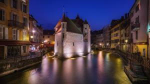 Фотографии Франция Дома Ночью Водный канал Annecy город