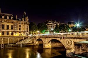 Картинка Франция Реки Мост Париже Ночь Уличные фонари Ile-de-France