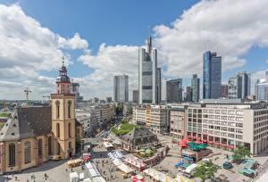 Картинка Франкфурт-на-Майне Германия Небоскребы Церковь Городская площадь St. Catherine's Church