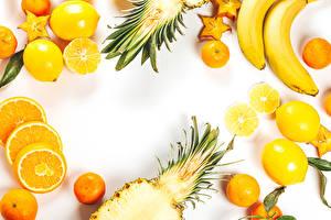 Картинки Фрукты Лимоны Ананасы Бананы Мандарины Апельсин Белым фоном