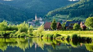 Фотографии Германия Леса Озеро Село Schwarzwald, Baden-Württemberg Природа