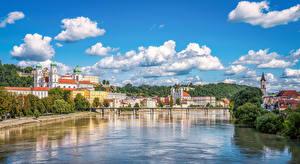 Фотография Германия Здания Реки Мосты Небо Облако Passau Города