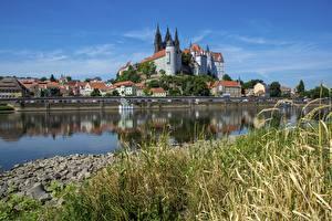 Фотографии Германия Реки Замки Трава Albrechtsburg, Meissen, Saxony, Elbe Города