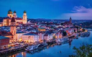 Фотография Германия Речка Церковь Бавария Ночные Passau город