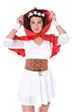 Фотография Gia Ren iStripper Белый фон Капюшон Рука Платья Платье Красная Шапочка Девушки