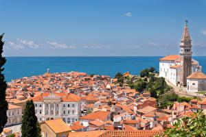Картинки Здания Церковь Море Словения Горизонт Istrian Peninsula, Piran Города