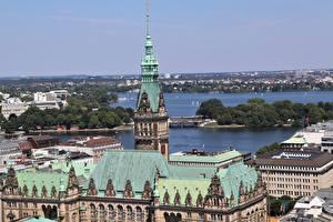 Обои Дома Германия Гамбург Крыша Горизонт Города картинки