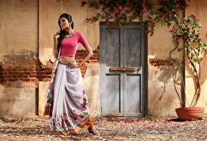 Обои Индийские Украшения Брюнетка Руки Поза Девушки картинки