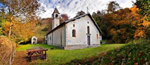 Картинки Италия Осень Церковь Деревьев Val Taleggio, Lombardy