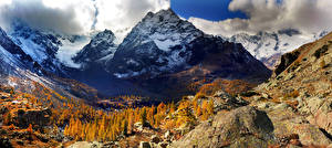 Фотографии Италия Гора Камни Осень Альпы Облако Lombardy