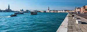 Фото Италия Речные суда Дома Панорамная Венеция Набережная город