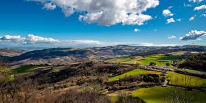 Фотографии Италия Пейзаж Холмы Облачно Apulia Природа