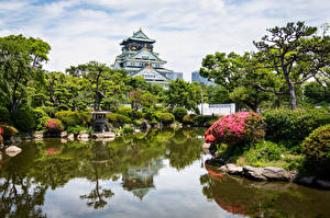 Картинка Япония Сады Пруд Замки Osaka Castle город