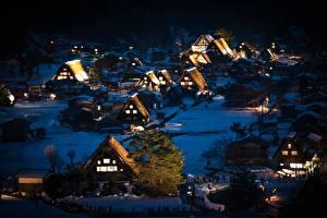 Картинки Япония Дома Поселок Ночь Дерева Shirakawa-go, Honshu Города