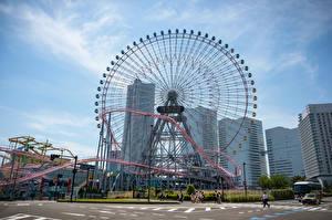 Обои Япония Здания Колесом обозрения Yokohama Города