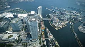 Картинка Япония Дома Сверху Yokohama Города