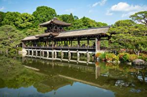 Картинка Япония Киото Храмы Пруд Деревья Taihei-kaku город