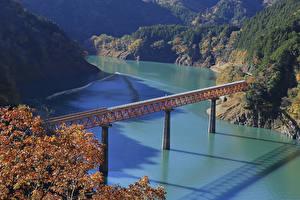 Обои Япония Реки Мост Утес Shizuoka Prefecture Природа