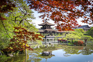 Фотографии Япония Храмы Киото Пруд Деревьев Taihei-kaku