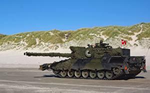 Фото Леопард 2 Танки Дания Сбоку Немецкий Холм Флаг военные