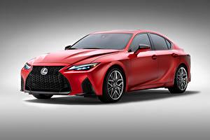 Обои для рабочего стола Лексус Красный Металлик Серый фон IS 500 F SPORT Performance, North America, 2021 Автомобили