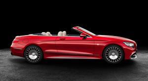 Картинки Мерседес бенц Майбах Кабриолета Красный Сбоку S 650, Cabriolet, 2017 авто