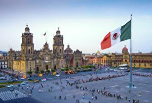 Фотография Мексика Собор Городской площади Флаг Zocalo Square, Mexico City, Cathedral Assumption Blessed Virgin Mary