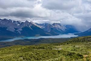 Фотографии Горы Леса Озеро Канада Rocky Mountains, Lake Athabasca, Alberta Природа