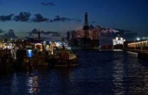 Фотография Нидерланды Пирсы Корабль Залива Ночь IJmuiden город