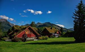 Обои для рабочего стола Норвегия Горы Дома Лето Møre og Romsdal Природа