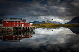 Фотография Норвегия Горы Лофотенские острова Облако Vestvågøy Природа