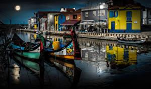 Фото Португалия Здания Лодки Водный канал Aveiro Города