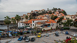 Обои Португалия Дома Побережье Пальмы Camara do Lobos, Madeira Города