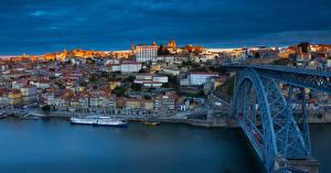 Обои Португалия Порту Реки Мосты Дома Панорама river Douro Города картинки