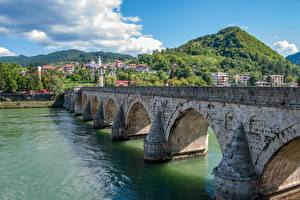 Обои Реки Мосты Босния и Герцеговина Холмов Visegrad, Mehmed Pasha Sokolovich Bridge Города