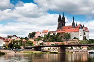 Фото Реки Мосты Замки Германия Albrechtsburg, Meissen, Saxony, Elbe Города