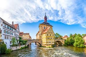 Фотографии Речка Мосты Германия Бавария Bamberg, Upper Franconia Города