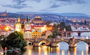 Картинка Реки Мост Рассветы и закаты Чехия Прага Vltava Города