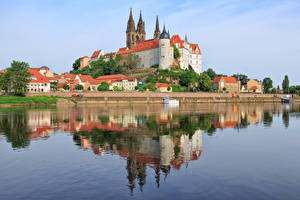 Фото Реки Замок Германия Холмов Saxony, Albrechtsburg Castle, Meissen, Elbe Города