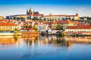 Фото Речка Замок Прага Чехия Prague Castle, Vltava Города