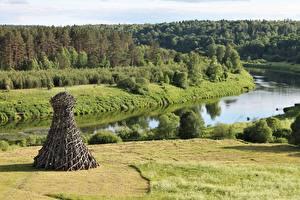 Обои для рабочего стола Речка Леса Парк Россия Трава Nikola-Lenivets Park, Dzerzhinsk district, Kaluga Region Природа