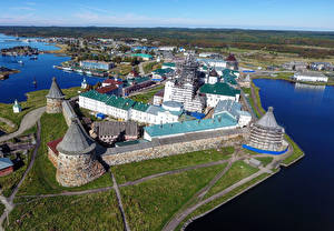 Обои Россия Монастырь Сверху Arkhangelsk Region, Spaso-Preobrazhensky Solovetsky Monastery город