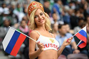 Фотографии Россия Блондинка Смотрит Флаг Слово - Надпись Английская Рука Natalia Nemchinova, World Cup 2018 Девушки