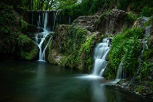 Фотография Испания Водопады Камень Мха Santa Pau, Catalonia Природа