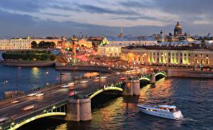 Фото Санкт-Петербург Россия Катера Мосты Рассветы и закаты Exchange Bridge Города