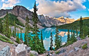 Фото Камни Горы Озеро Парк Канада Пейзаж Банф Ели Alberta