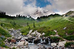 Фотография Камни Гора Ручеек Траве Холмы Природа