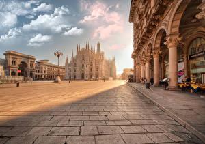Картинки Рассвет и закат Собор Италия Городская площадь Уличные фонари Piazza del Duomo, Milan, Milan Cathedral